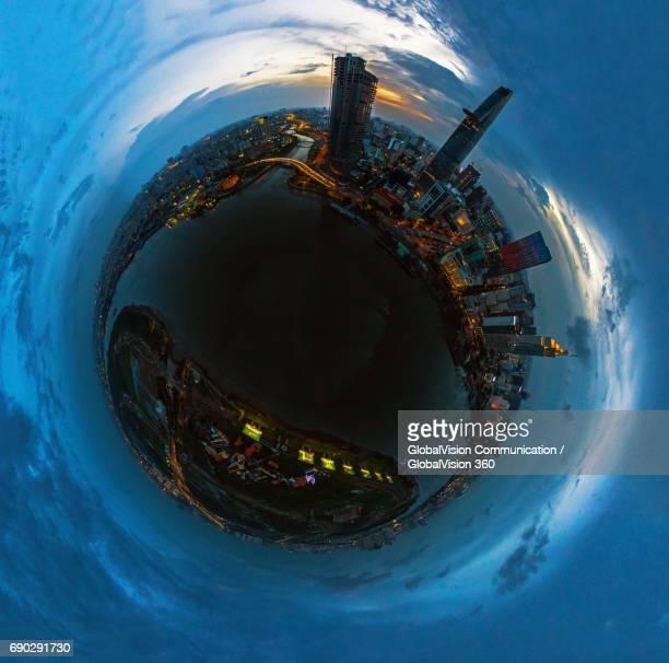saigon's cbd aerial view from above - hdri 360 ストックフォトと画像
