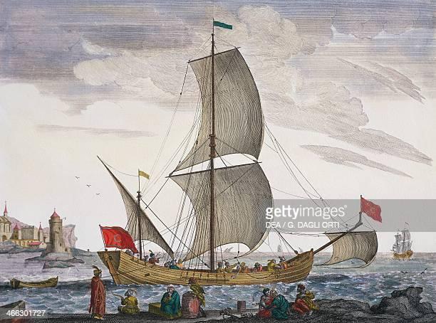 Saik, Turkish trading vessel colour engraving from Plan de Plusieurs Batiments de Mer avec leurs Proportions, by Henri de Sbonski Passebon. 17th...