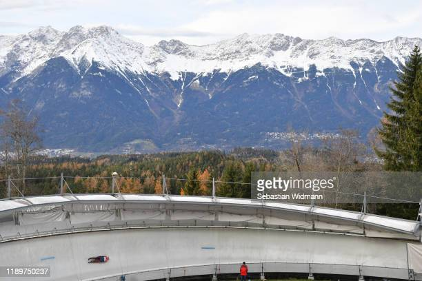 Saikeyi Jubayi of China competes in the Relay competition during the FIL Luge World Cup at OlympiaRodelbahn on November 24 2019 in Innsbruck Austria