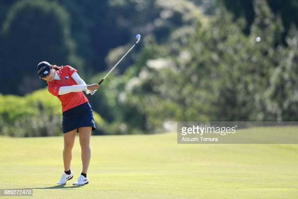Saiki Fujita of Japan hits her second shot on the 18th hole during the final round of the Resorttrust Ladies at the Oakmont Golf Club on May 28 2017...