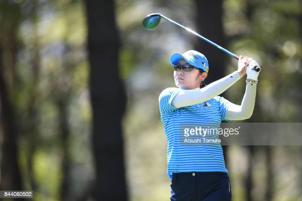 Saiki Fujita of Japan hits her tee shot on the 12th hole during the second round of the 50th LPGA Championship Konica Minolta Cup 2017 at the Appi...