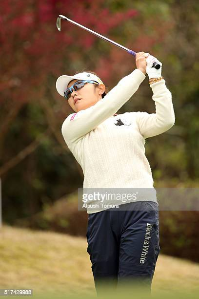 Saiki Fujita of Japan hits her tee shot on the 16th hole during the first round of the AXA Ladies Golf Tournament at the UMK Country Club on March 25...