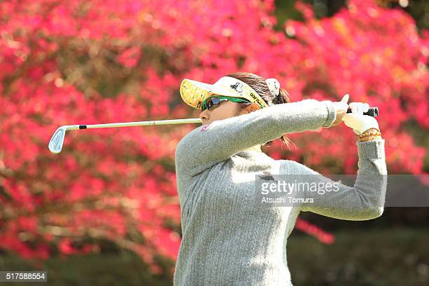 Saiki Fujita of Japan hits her tee shot on the 16th hole during the second round of the AXA Ladies Golf Tournament at the UMK Country Club on March...