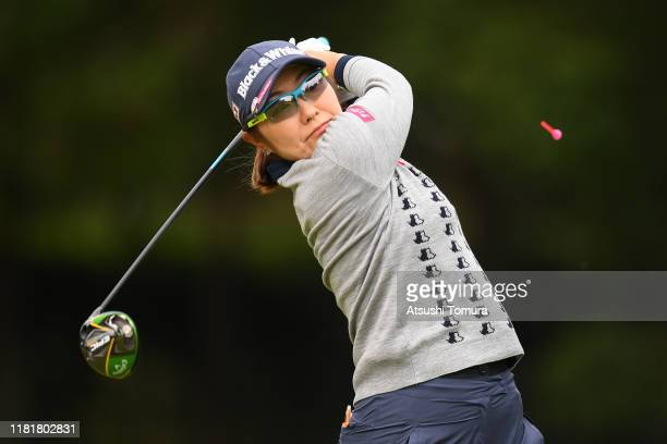 Saiki Fujita of Japan hits her tee shot on the 2nd hole during first round of Fujitsu Ladies at Tokyu Seven Hundred Club on October 18 2019 in Chiba...