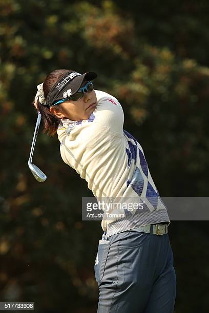 Saiki Fujita of Japan hits her tee shot on the 2nd hole during the final round of the AXA Ladies Golf Tournament at the UMK Country Club on March 27...