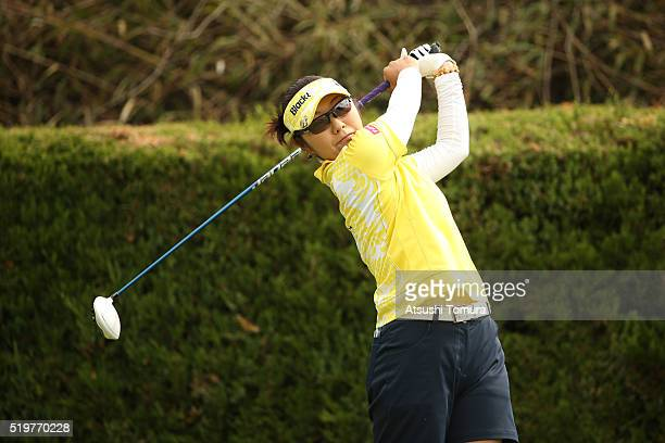 Saiki Fujita of Japan hits her tee shot on the 2nd hole during the first round of the Studio Alice Open at the Hanayashiki Golf Club Yokawa Course on...