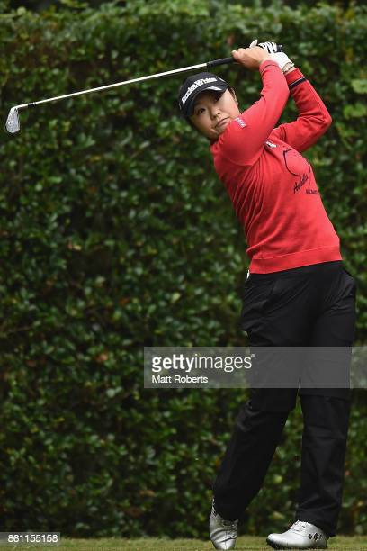Saiki Fujita of Japan hits her tee shot on the 4th hole during the second round of the Fujitsu Ladies 2017 at the Tokyu Seven Hundred Club on October...