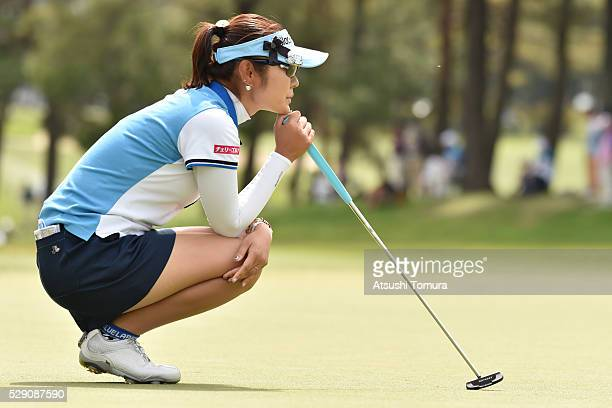Saiki Fujita of Japan lines up her birdie putt on the 16th green during the World Ladies Championship Salonpas Cup at the Ibaraki Golf Club on May 8...