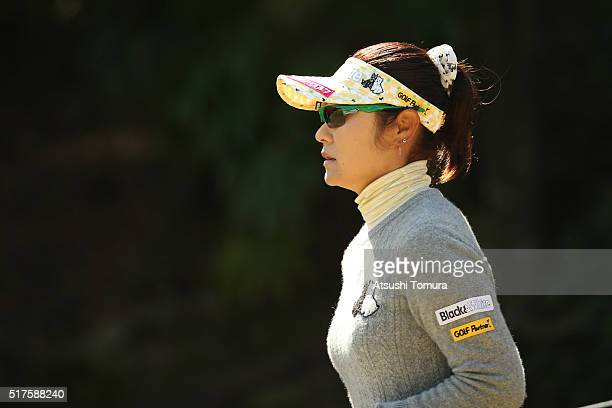 Saiki Fujita of Japan looks on during the second round of the AXA Ladies Golf Tournament at the UMK Country Club on March 26 2016 in Miyazaki Japan