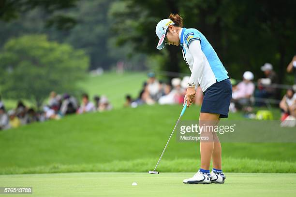 Saiki Fujita of Japan putts during the second round of the Samantha Thavasa Girls Collection Ladies Tournament 2016 at the Eagle Point Golf Club on...