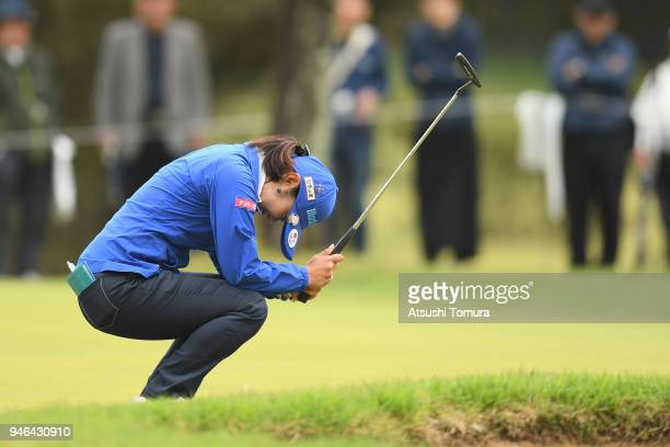 Saiki Fujita of Japan reacts after missing her birdie putt on the 8th hole during the final round of the KKT Cup Vantelin Ladies Open at the Kumamoto...