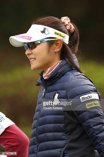 Saiki Fujita of Japan smiles during the first round of the AXA Ladies Golf Tournament at the UMK Country Club on March 25 2016 in Miyazaki Japan