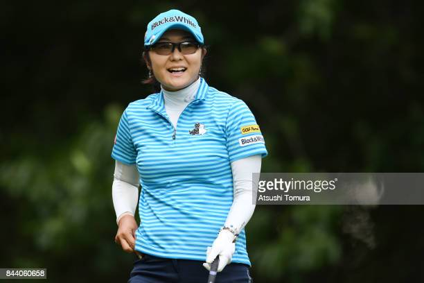 Saiki Fujita of Japan smiles during the second round of the 50th LPGA Championship Konica Minolta Cup 2017 at the Appi Kogen Golf Club on September 8...
