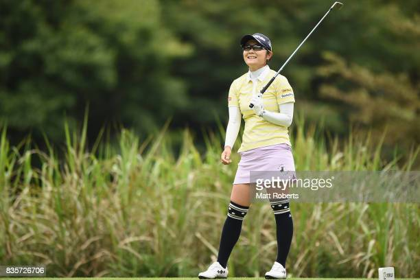 Saiki Fujita of Japan watches her tee shot on the 12th hole during the final round of the CAT Ladies Golf Tournament HAKONE JAPAN 2017 at the...