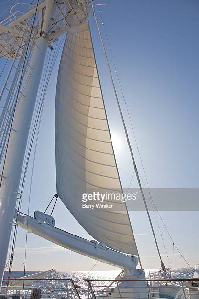 Sail and masts of the motorized sailship Wind Spirit of Windstar Cruises