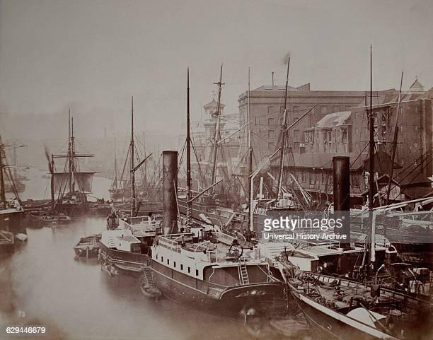 Sail and Steam Merchant Ships at Dock circa 1880