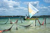 Sail boat and hammocks, Jericoacoara, Brazil