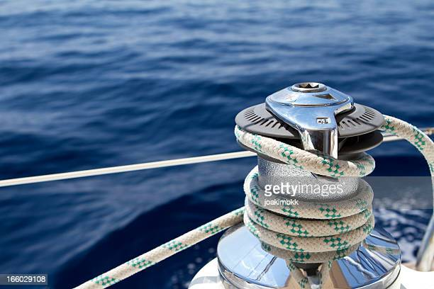 Sail boat winch with tight rope