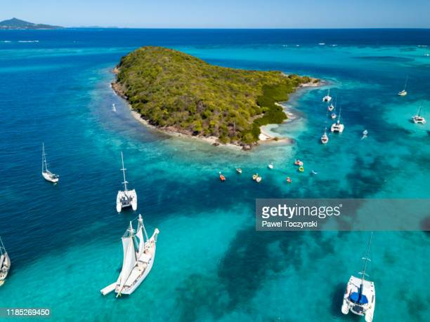 sail boats and catamarans moored near uninhabited islands of tabago cays, grenadines, 2019 - island stock pictures, royalty-free photos & images