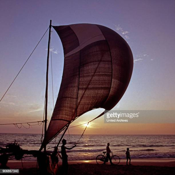 Sail of a catamaran in the sunset at Ceylon 1980s