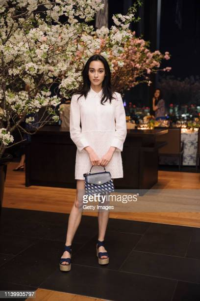 Saila Kunikida attends the Tory Burch Ginza Boutique Opening After Party on April 02 2019 in Tokyo Japan