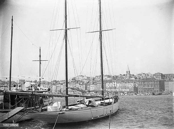 Sailboat Anchored In The Old Port Of Marseille In The BouchesDuRhone In 1930