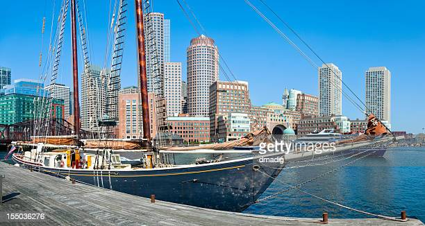 Sailboat and Boston Skyline Under Clear Blue Sky