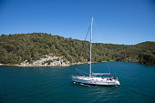 sailboat coastline skradin sibenikknin croatia