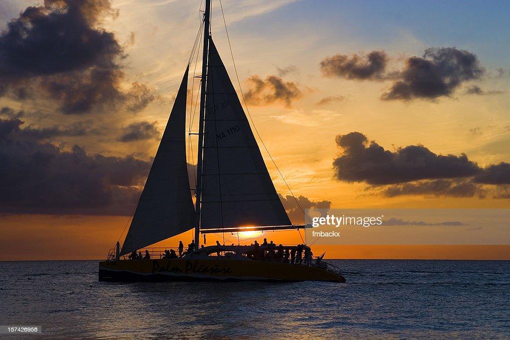 Sailboat and sunset : Stock Photo