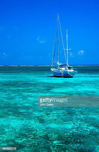 Sailboat and tropical ocean water