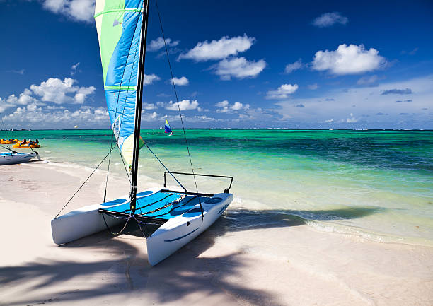 Sailboat at Caribbean sea