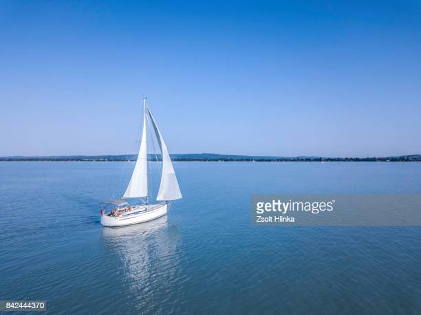 sailboat - balaton lake - boat stock pictures, royalty-free photos & images