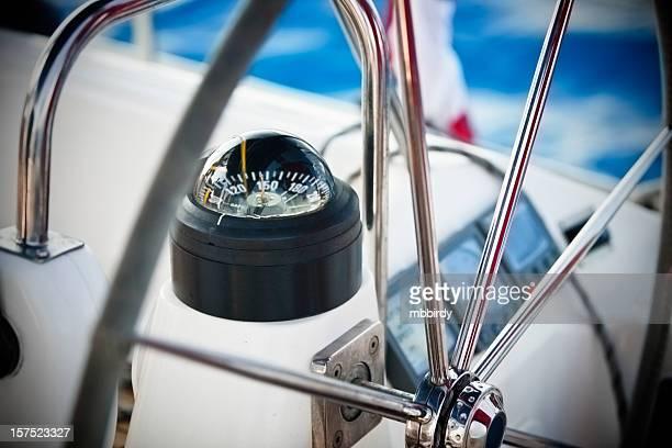 Segelschiff cockpit mit Kompass