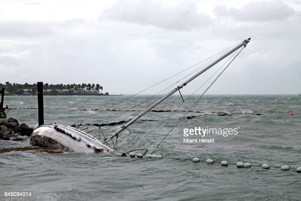 A sailboat crashes on the shore near Mallory Square as the effects of Hurricane Irma move into the Florida Straits on Key West Fla on Saturday Sept 9...
