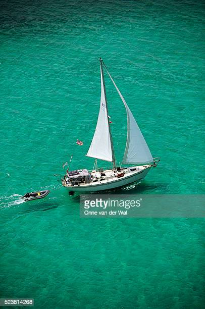 Sailboat Cruising near the Abaco Islands