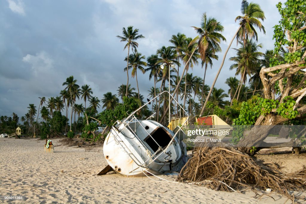 Sailboat destroyed by Hurricane Maria : Stock Photo