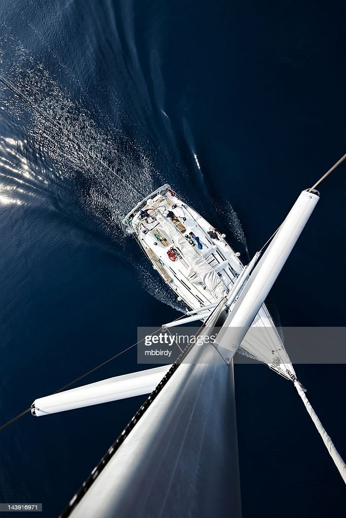 Sailboat from above : Stock Photo