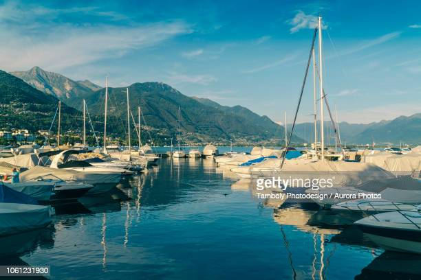 sailboat harbor, âlocarno, ticino, switzerland - locarno stock photos and pictures