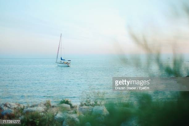 sailboat in calm sea against sky - drazen stock pictures, royalty-free photos & images