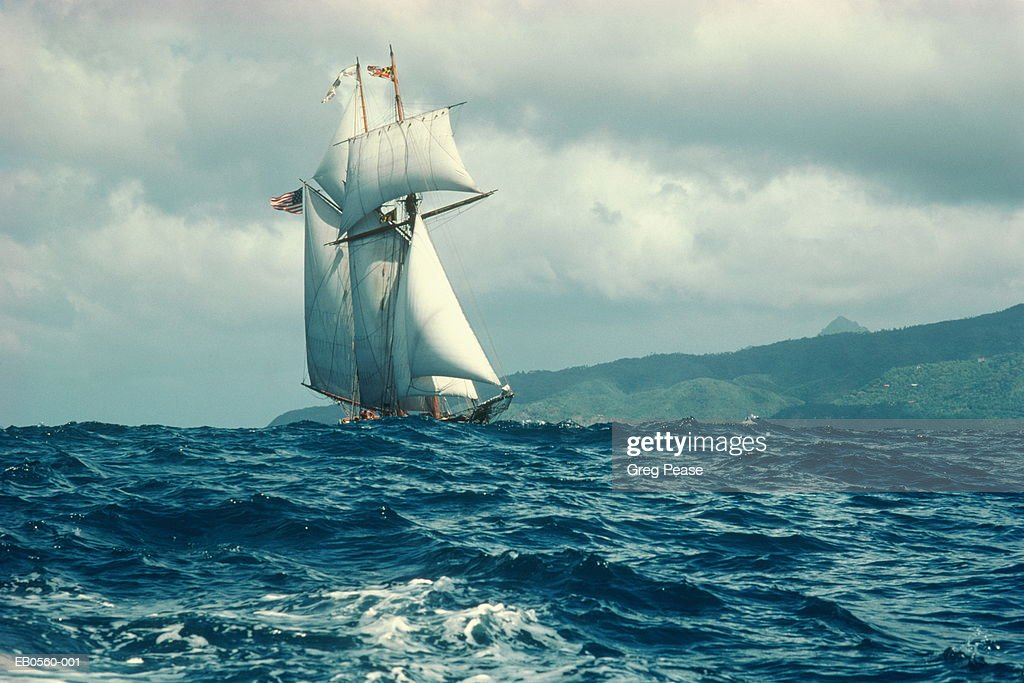 Sailboat in rough seas, St. Lucia, Carribean : Stock Photo