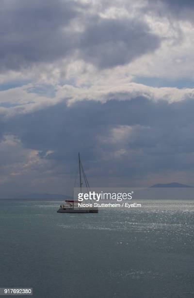 sailboat in sea against sky - stutterheim stock photos and pictures