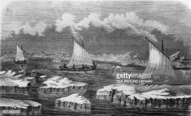 Sailboat in the frozen sea Carl Koldewey's expedition in the Arico Arctic ocean illustration from Die zweite deutsche Nordpolarfahrt in den Jahren...
