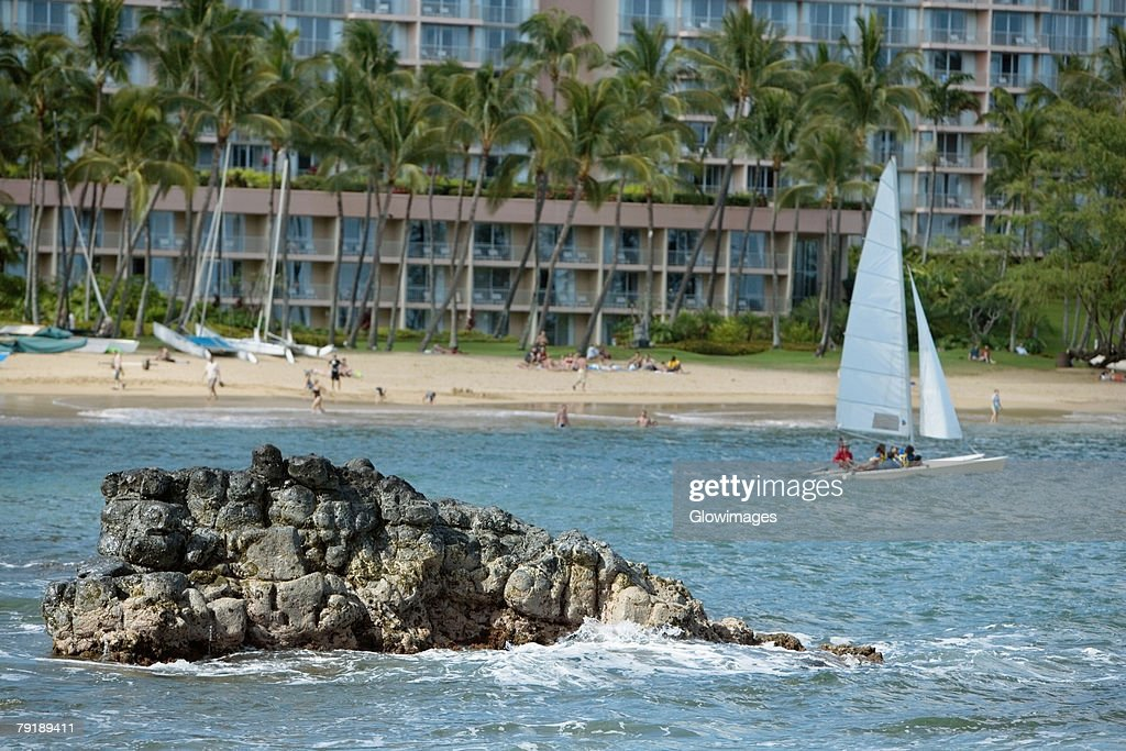 Sailboat in the sea, Nawiliwili Beach Park, Kauai, Hawaii Islands, USA : Foto de stock