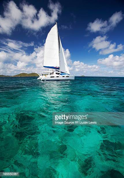 Sailboat in tropical water