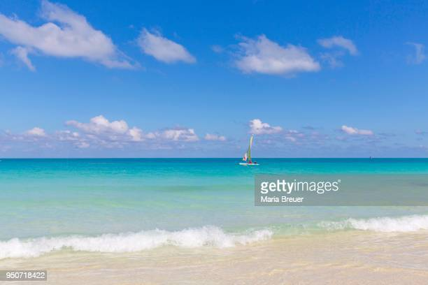 Sailboat in turquoise water, island of Cayo Santa Maria, Greater Antilles, Caribbean, Cuba