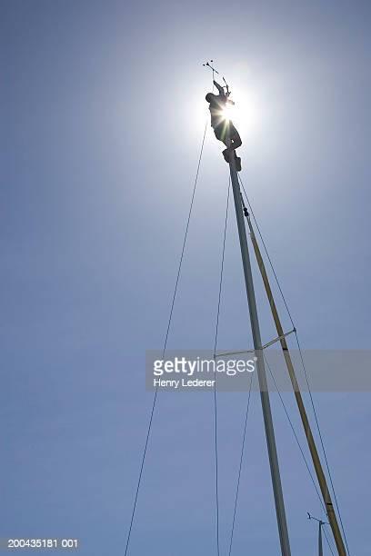 Sailboat mast, low angle view