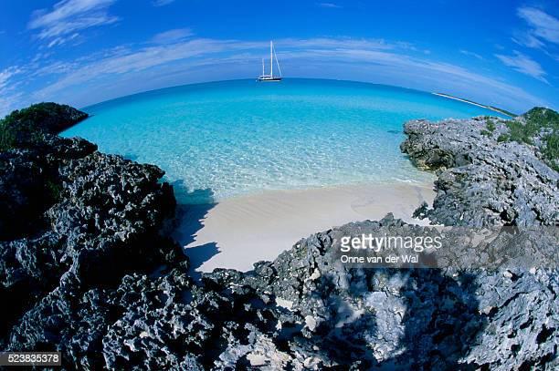 Sailboat Moored in Bay Along Exuma Cays