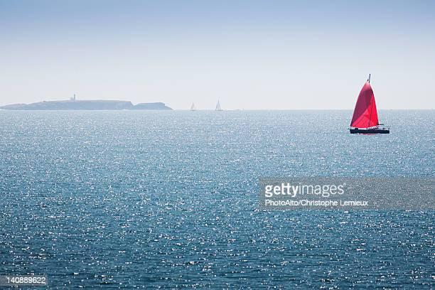sailboat off the coast of belle-ile-en-mer, morbihan, brittany, france - ile de france stockfoto's en -beelden