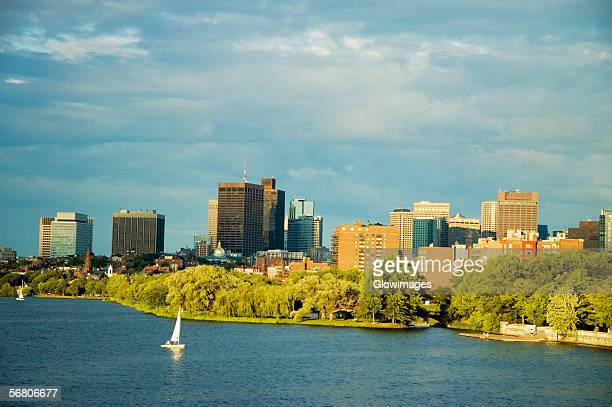 Sailboat on a river, Charles River, Esplanade, Boston, Massachusetts, USA