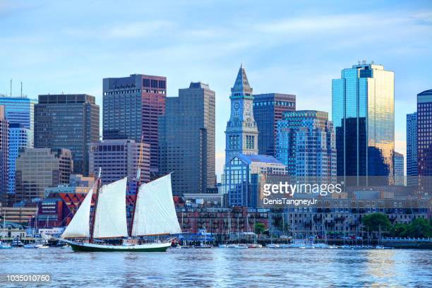 sailboat on boston harbor - pirate ship stock photos and pictures